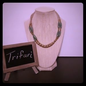 Trifari Necklace Sage Green Gold Double Strand
